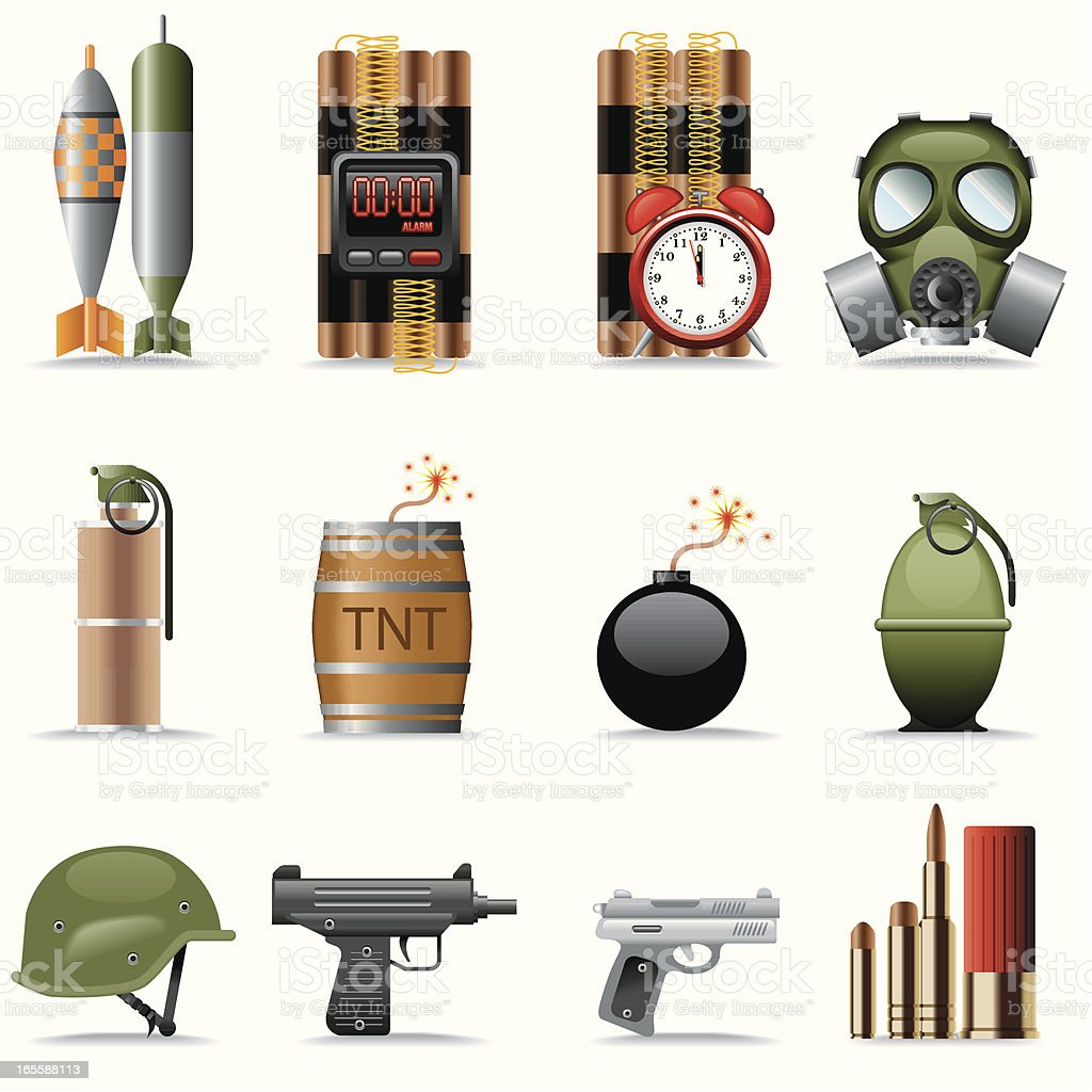 Icon Set, explosives and terrorism vector art illustration