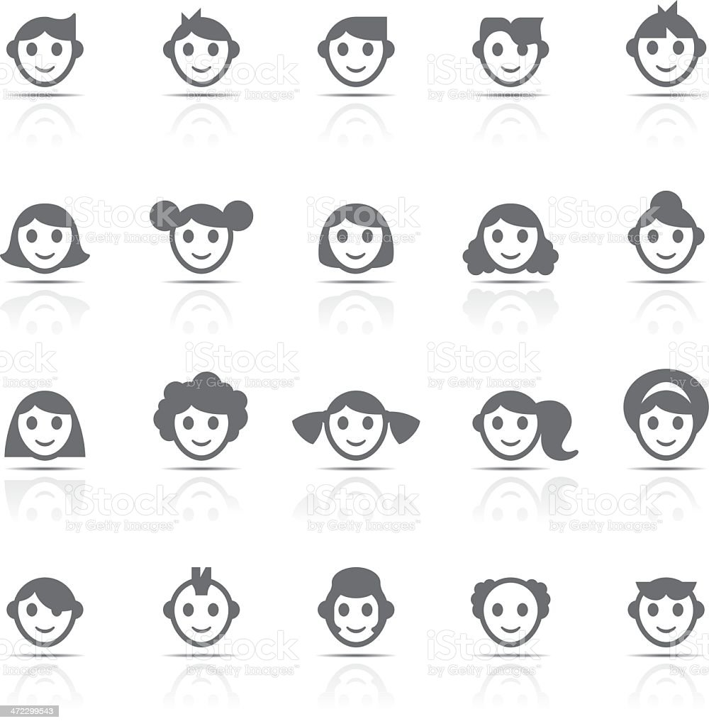 Icon Set, Faces royalty-free stock vector art