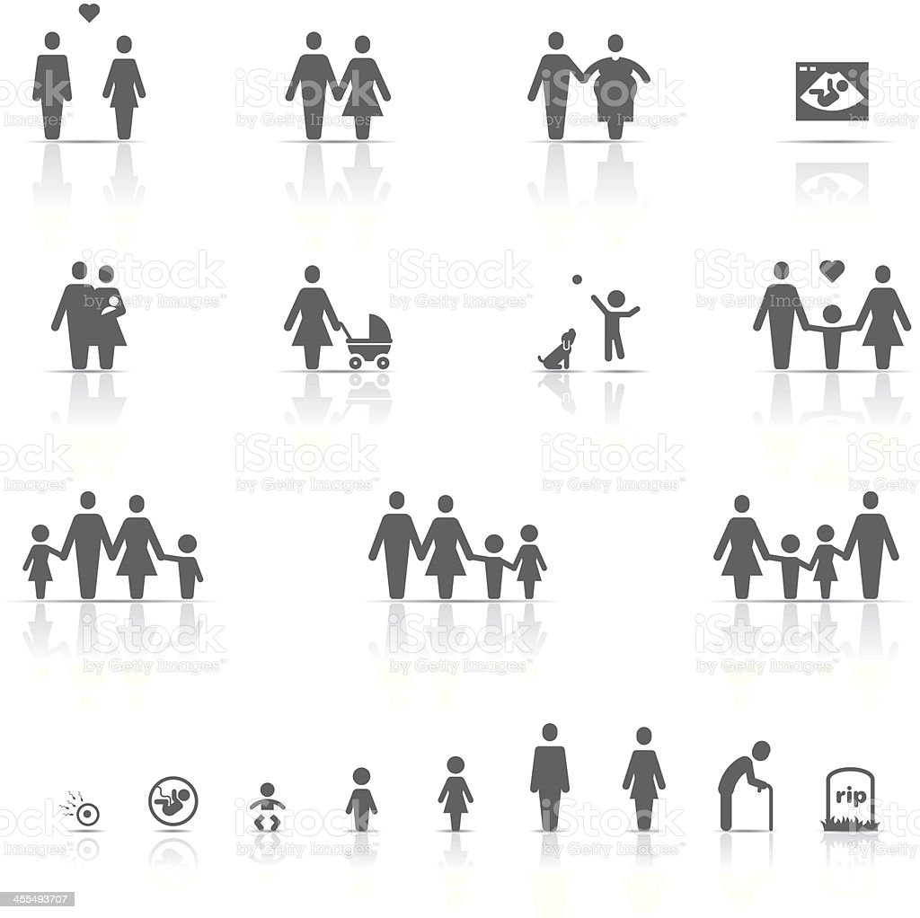 Icon Set, Family and Life vector art illustration