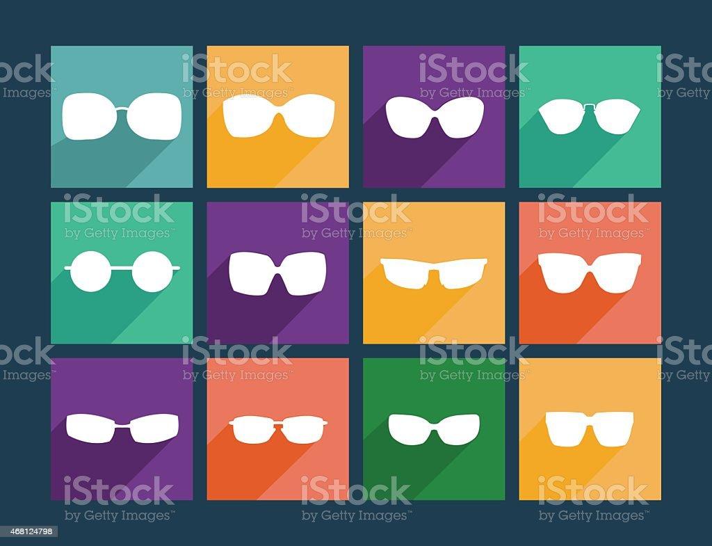 Icon Set Flat Sunglasses - Illustration vector art illustration