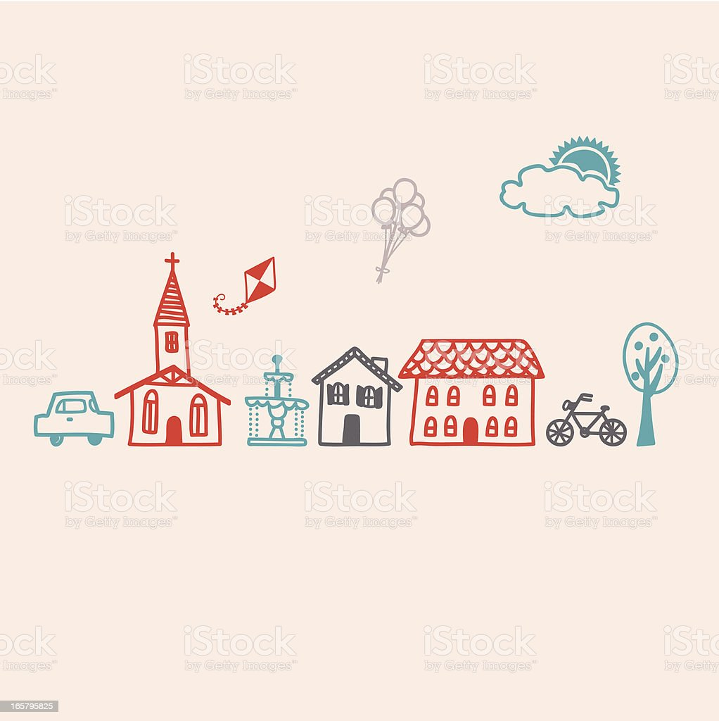 Icon set for a Small Village Town vector art illustration