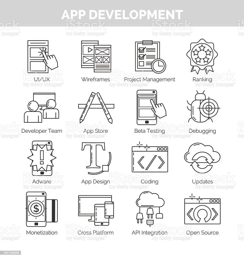 Icon set for mobile application development. vector art illustration