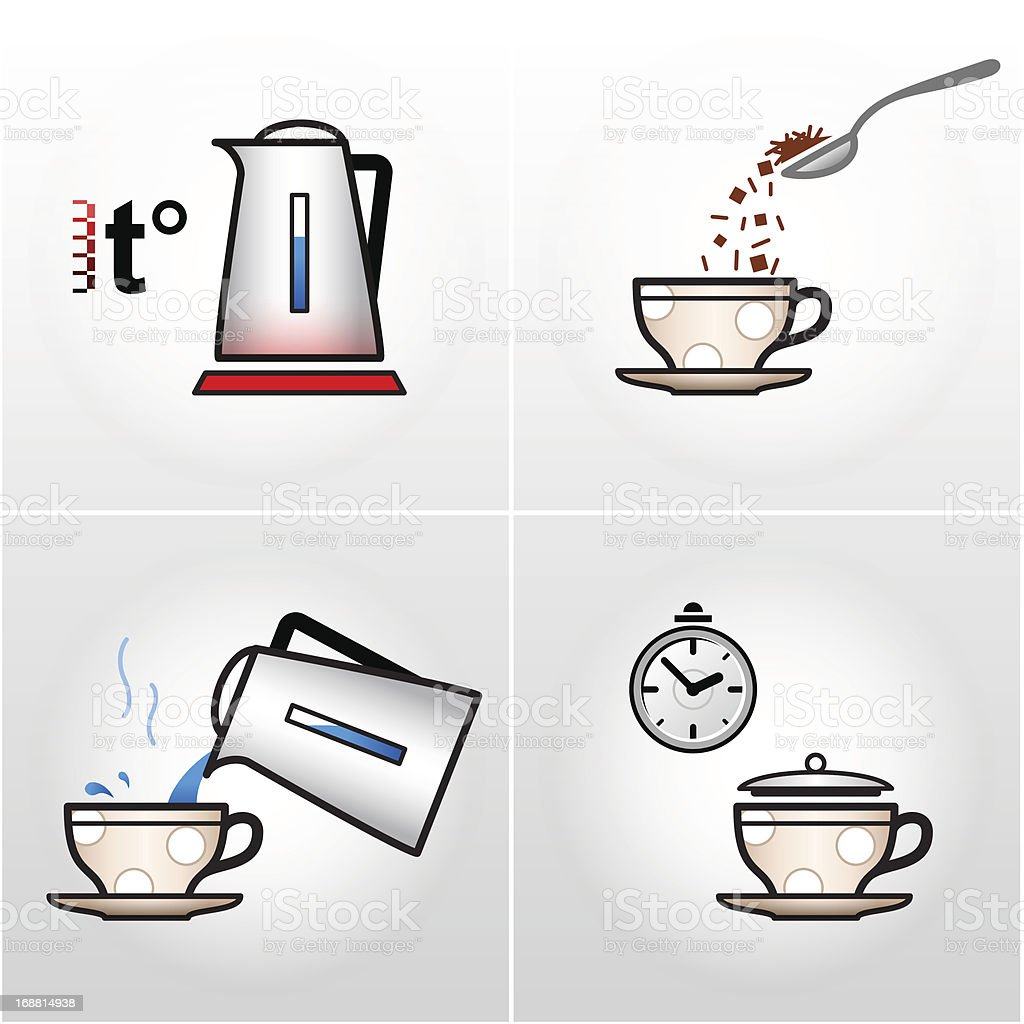 Icon set for process of brewing tea, coffee, etc. vector art illustration