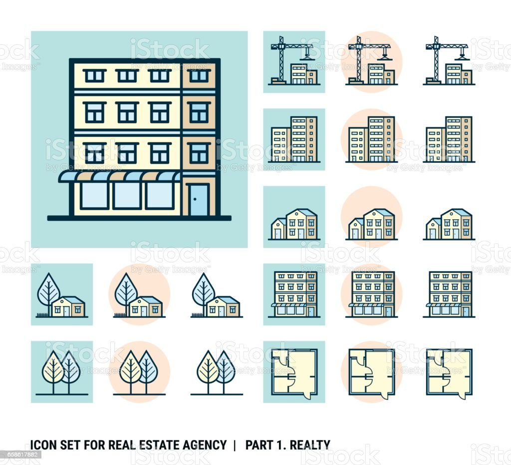Icon set for real estate agency. Part 1. Realty vector art illustration
