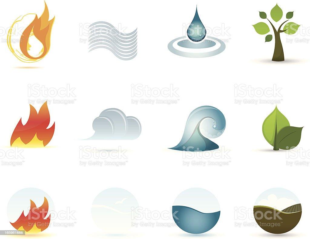 Icon Set - Four Elements vector art illustration