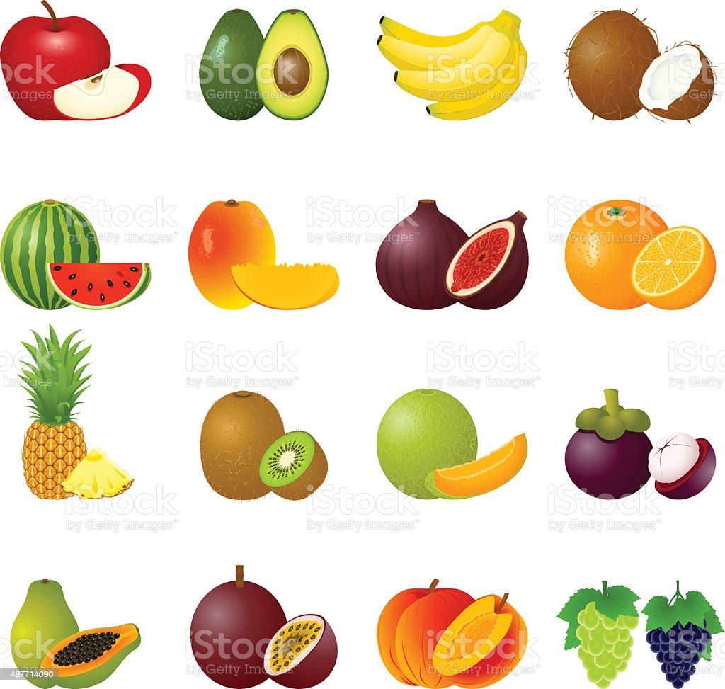 Icon Set Fruits vector art illustration