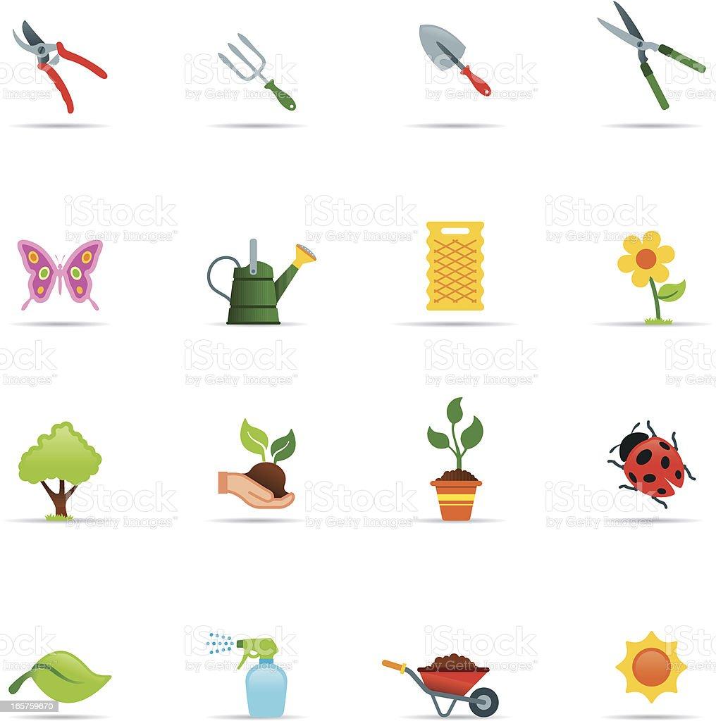 Icon Set, Gardening Color vector art illustration