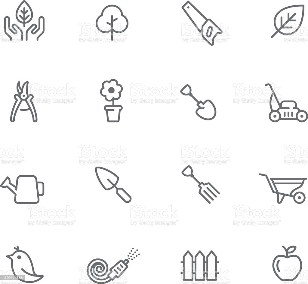 Icon Set, Gardening vector art illustration