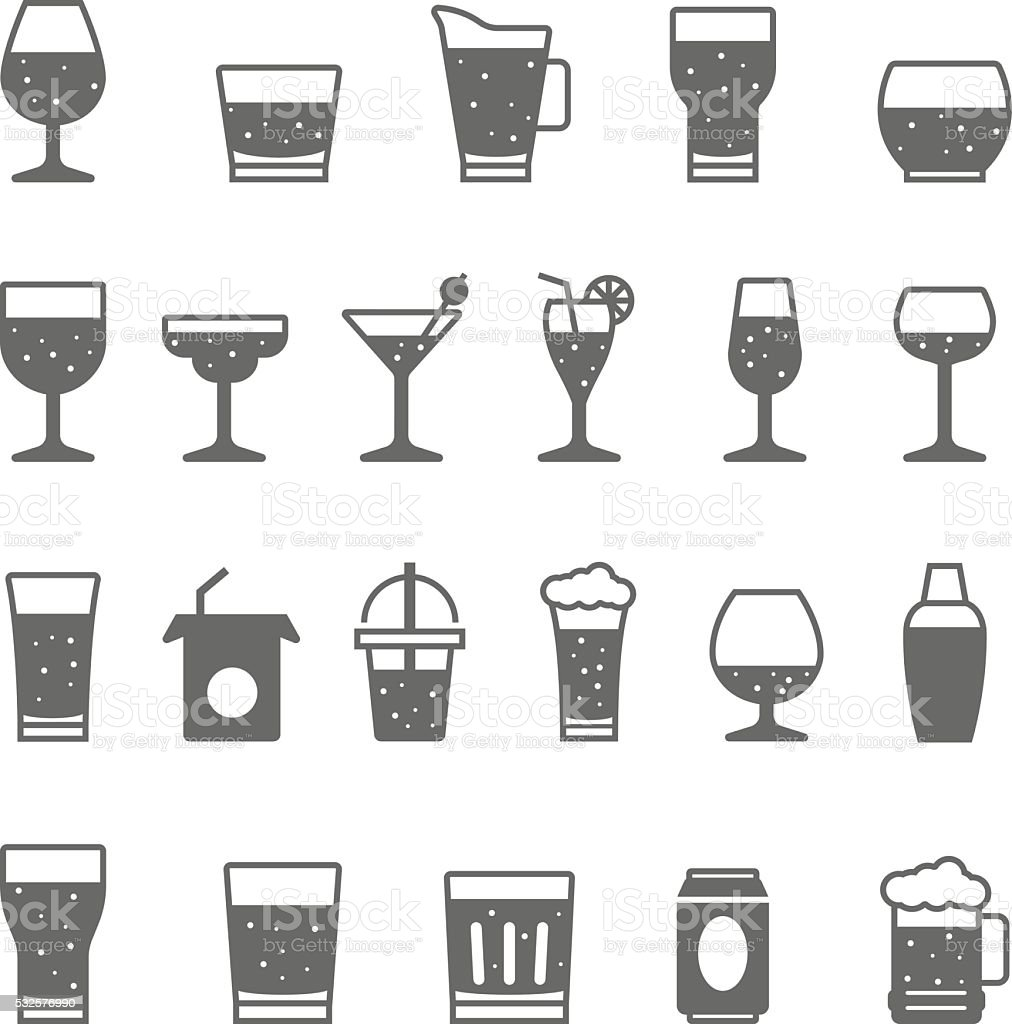 Icon set - glass and beverage vector art illustration