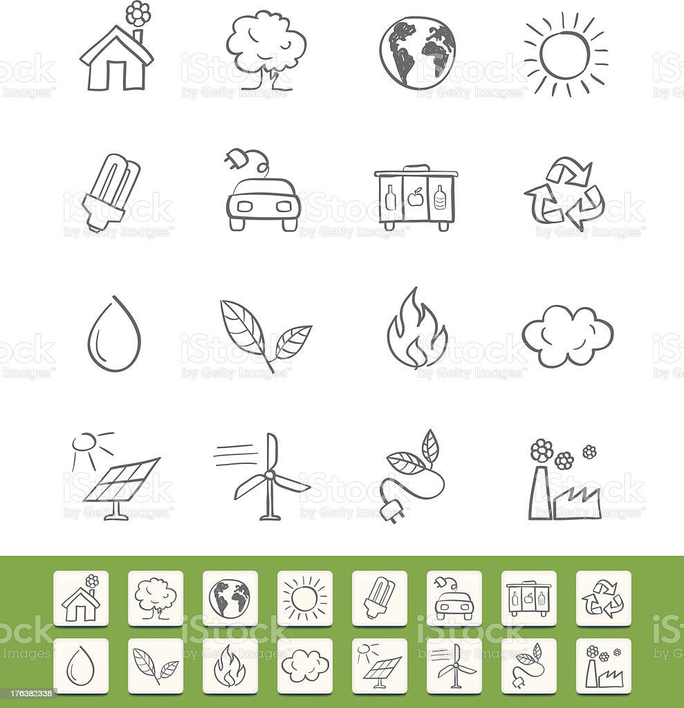 Icon Set Green Energy, sketch royalty-free stock vector art