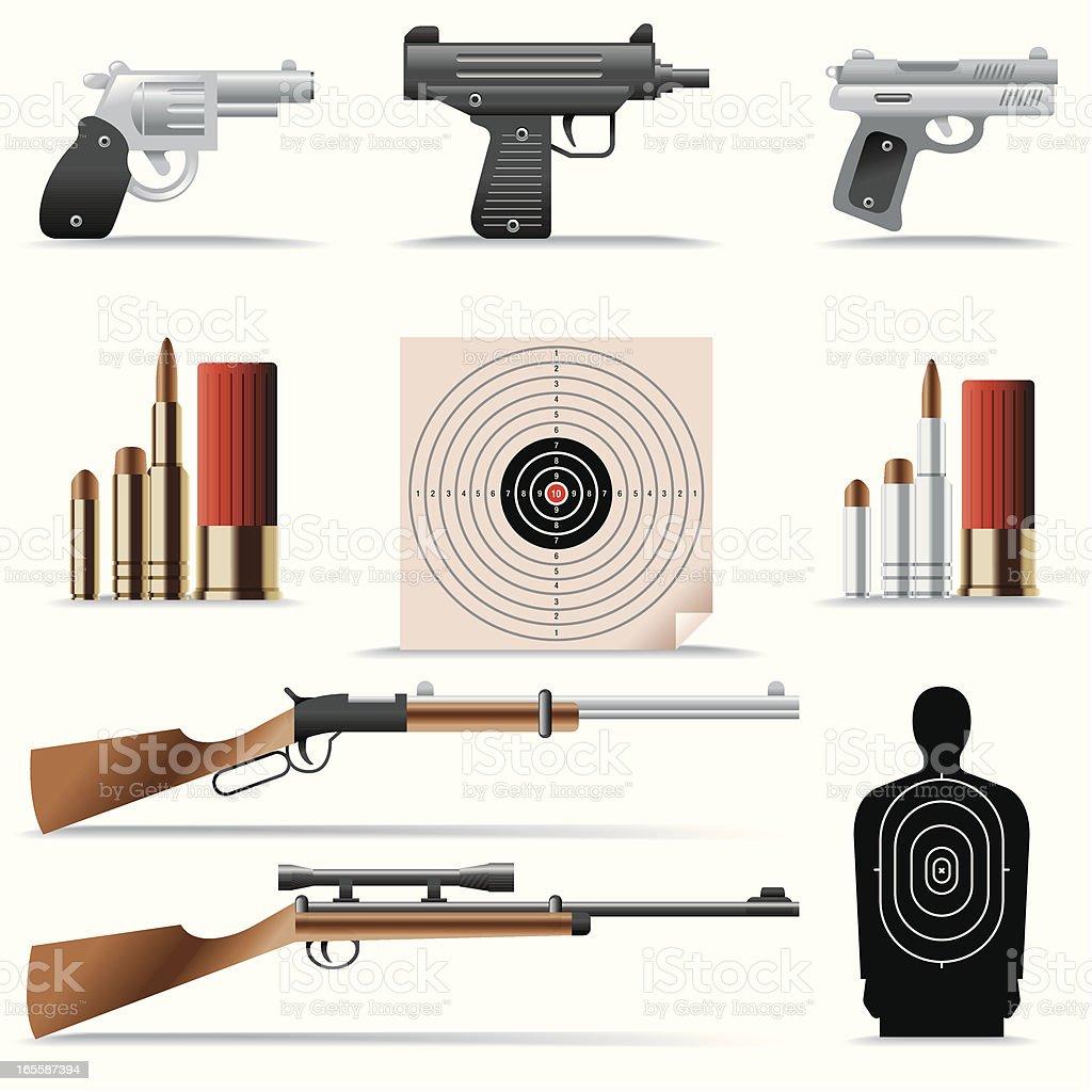 Icon Set, Guns and bullets royalty-free stock vector art