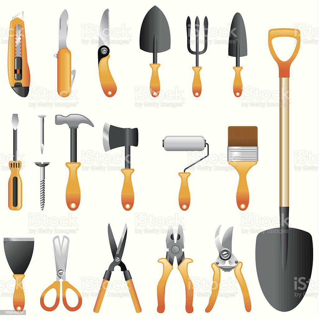 Icon Set, Hand tools vector art illustration