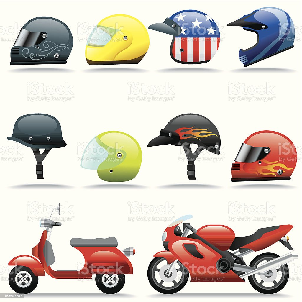Icon Set, Helmets and Motorcycles vector art illustration