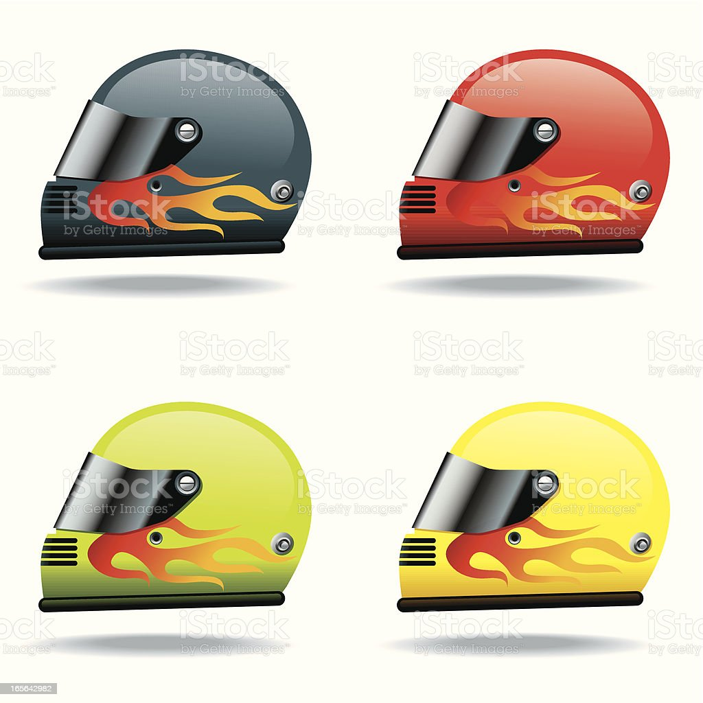 Icon Set, Helmets vector art illustration