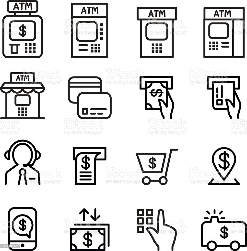 ATM icon set in thin line style vector art illustration