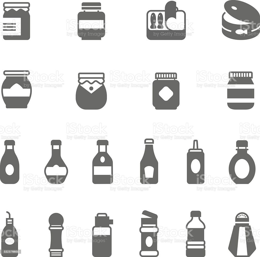 Icon set - ketchup vector art illustration