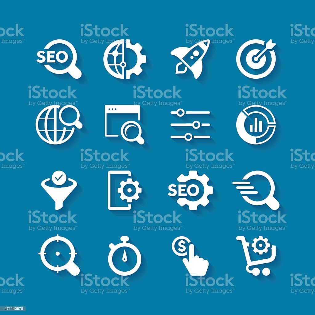 SEO Icon Set | Long Shadow Series vector art illustration