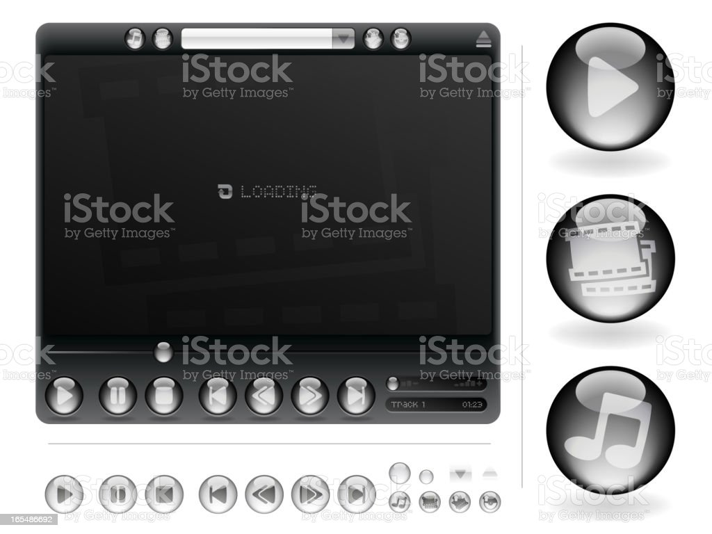 Icon Set - Media player 'Deluxe' royalty-free stock vector art