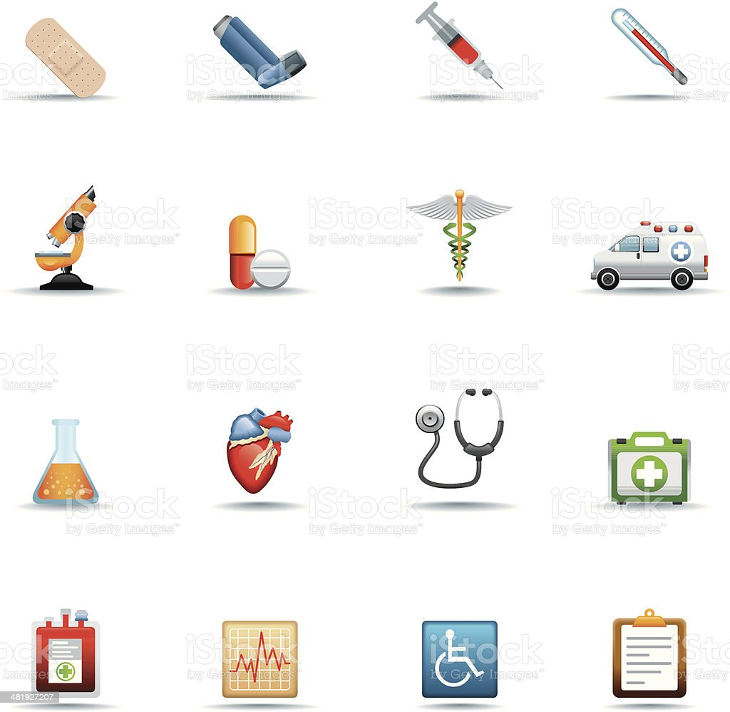 Icon Set, Medical Supplies vector art illustration