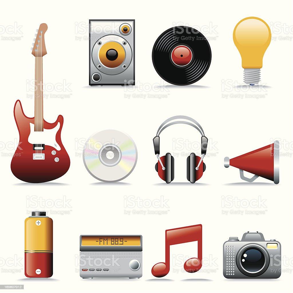 Icon Set, Music vector art illustration