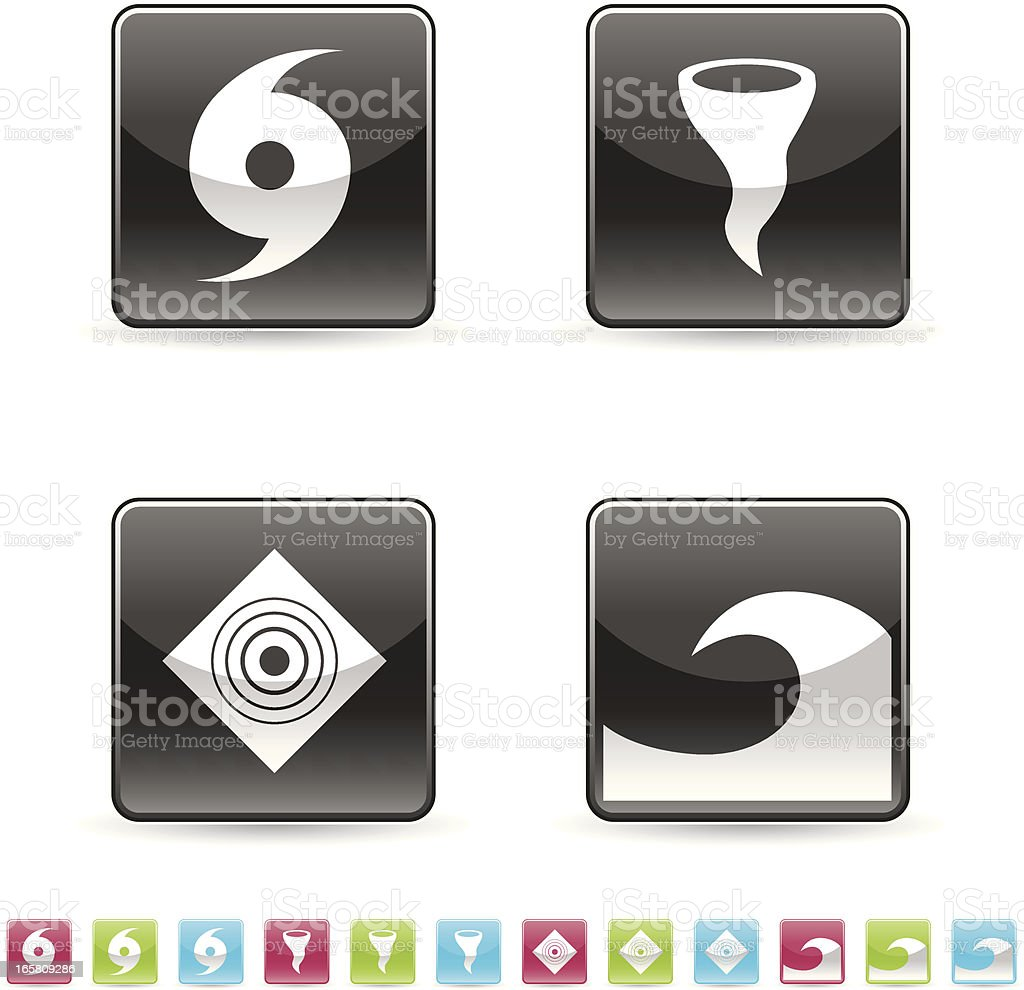 Icon set natural disaster vector art illustration