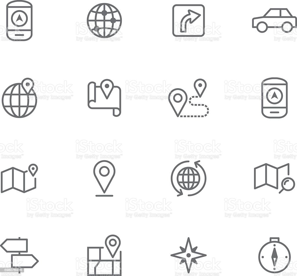 Icon Set, Navigation vector art illustration