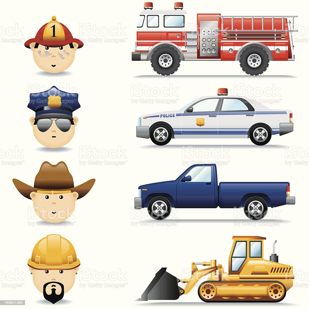 Icon Set, Occupations and Cars royalty-free stock vector art