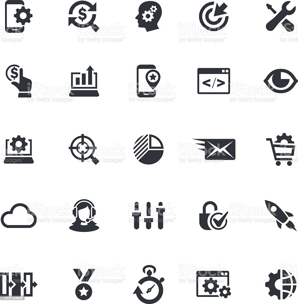 SEO icon set of 5x5 in black and white vector art illustration
