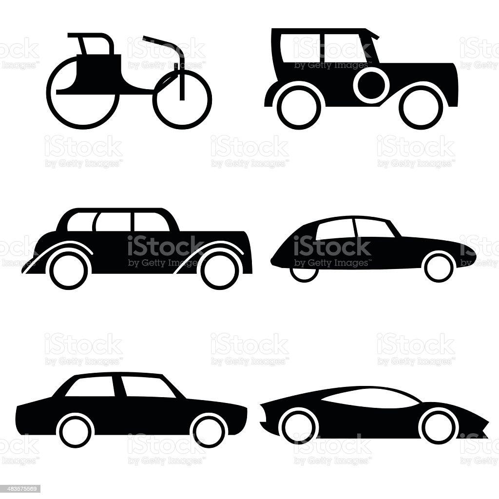 Icon set of cars through history. vector art illustration