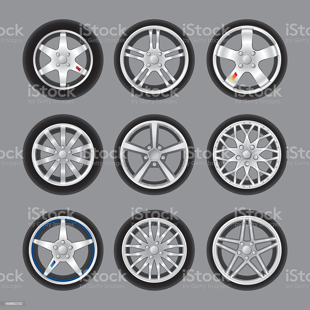 Icon set of different rims and wheels royalty-free stock vector art