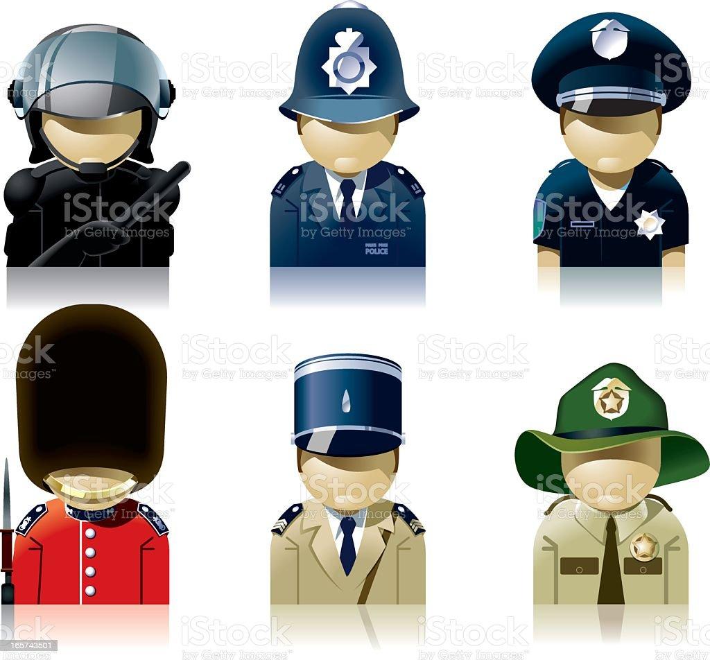 Icon set of diverse policemen vector art illustration