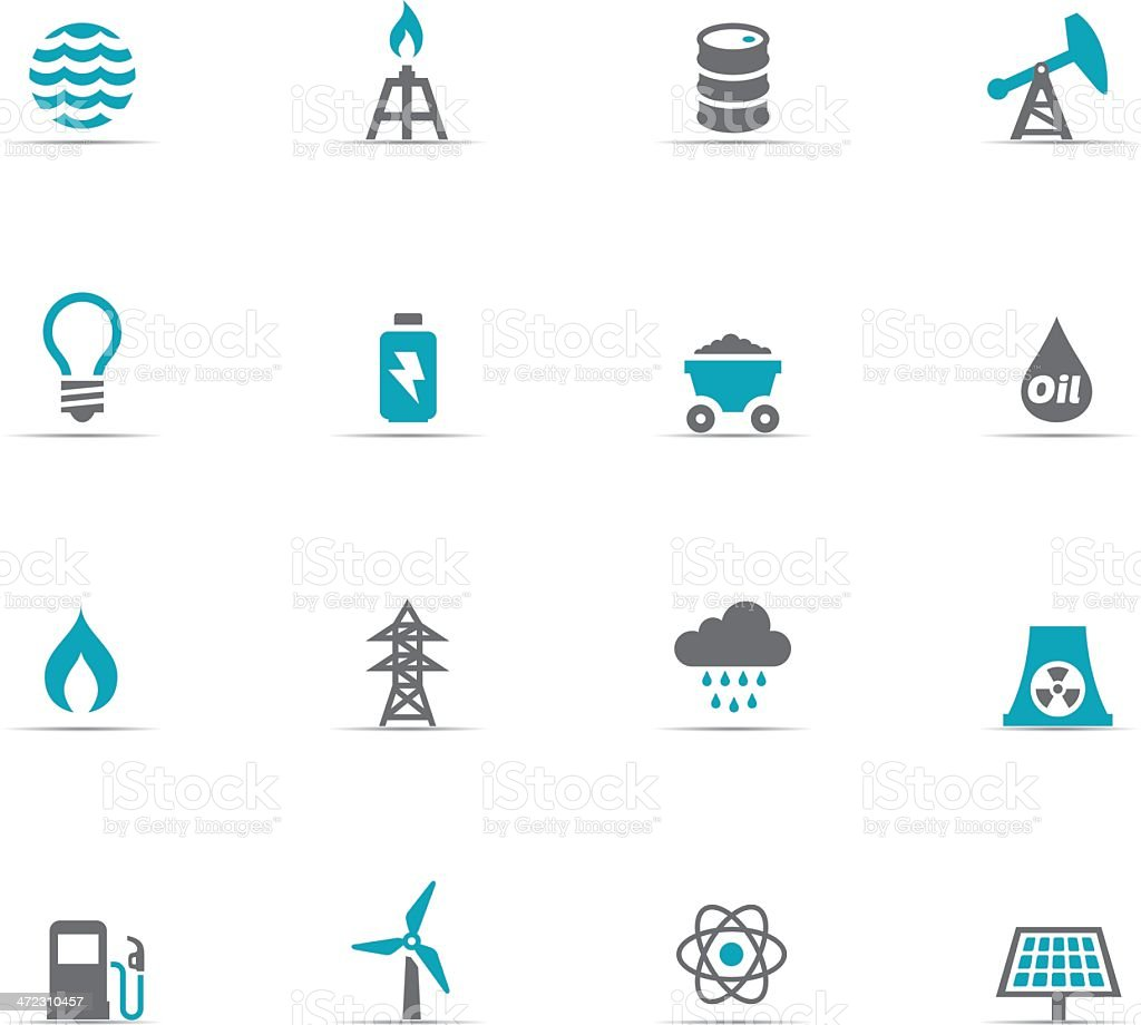 Icon set of energy and industry vector art illustration