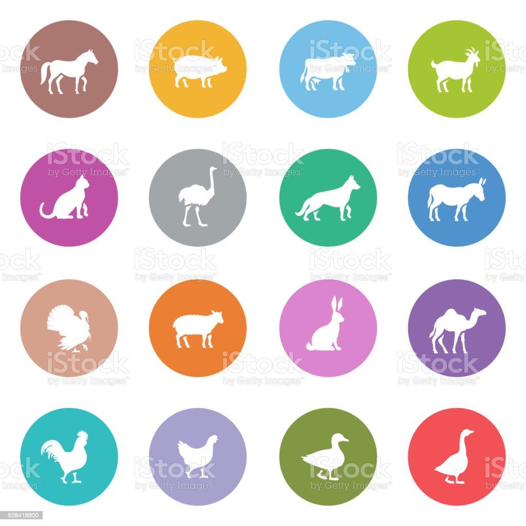 Icon Set of Farm Animals vector art illustration