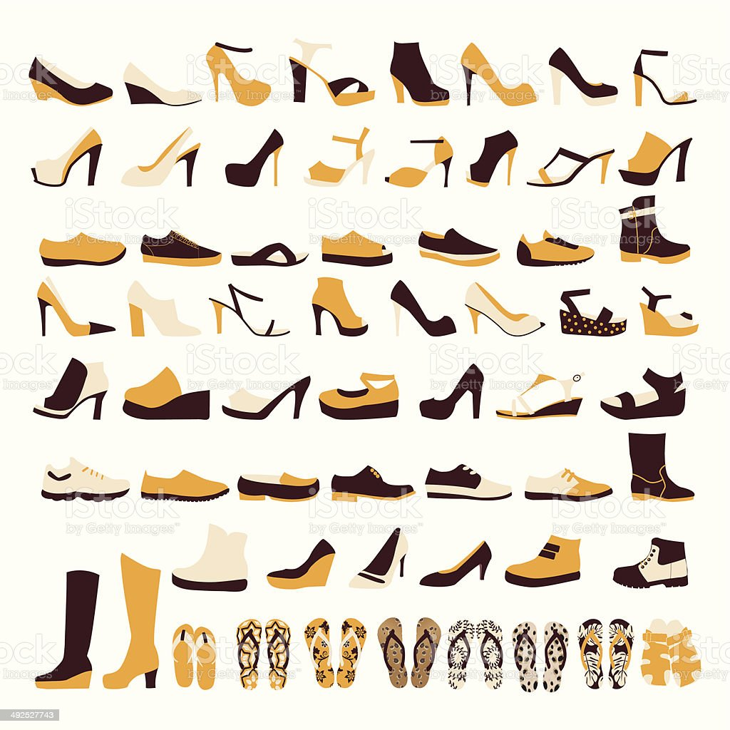 icon set of men's  and of women's shoes vector art illustration