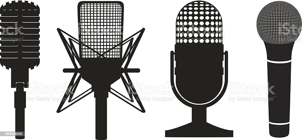 icon set of microphones black silhouette vector illustration royalty-free stock vector art