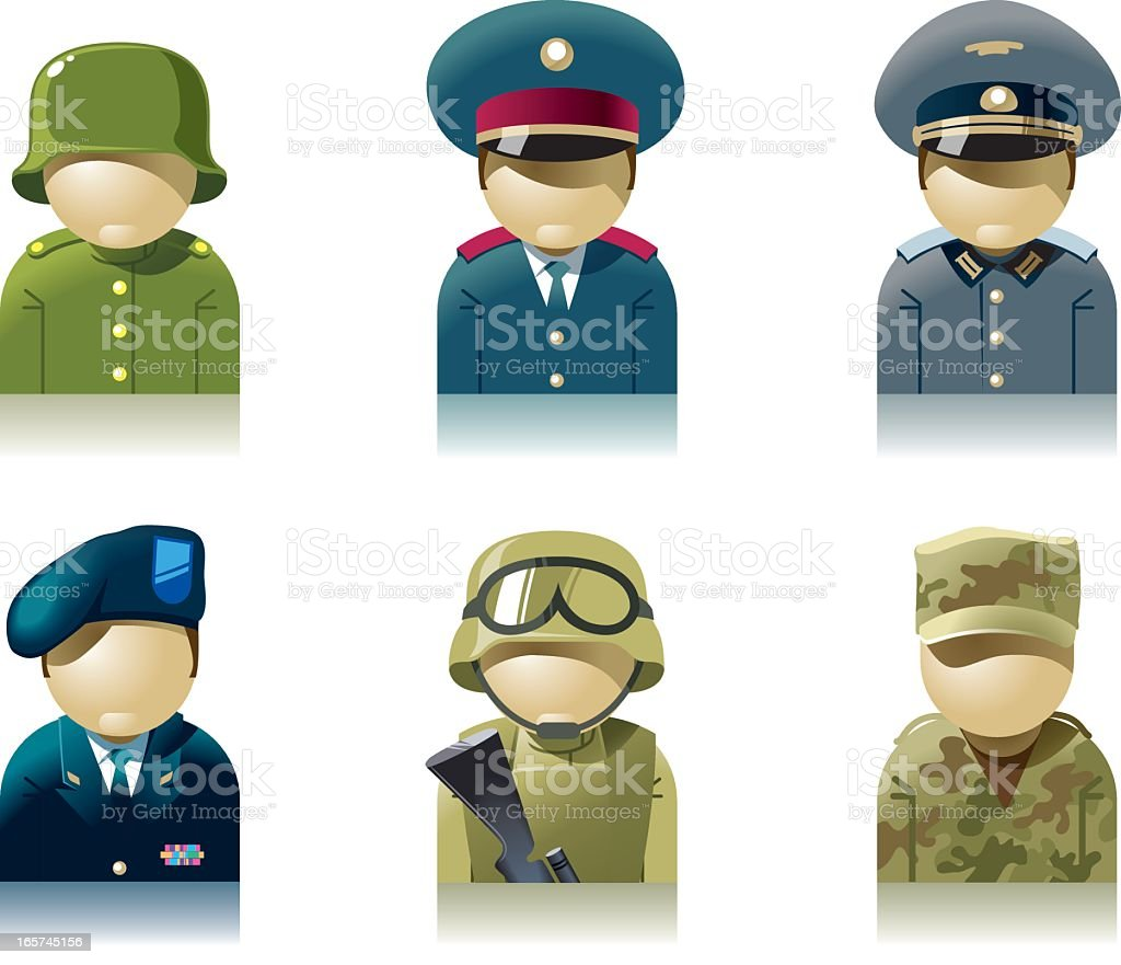Icon set of military professions vector art illustration