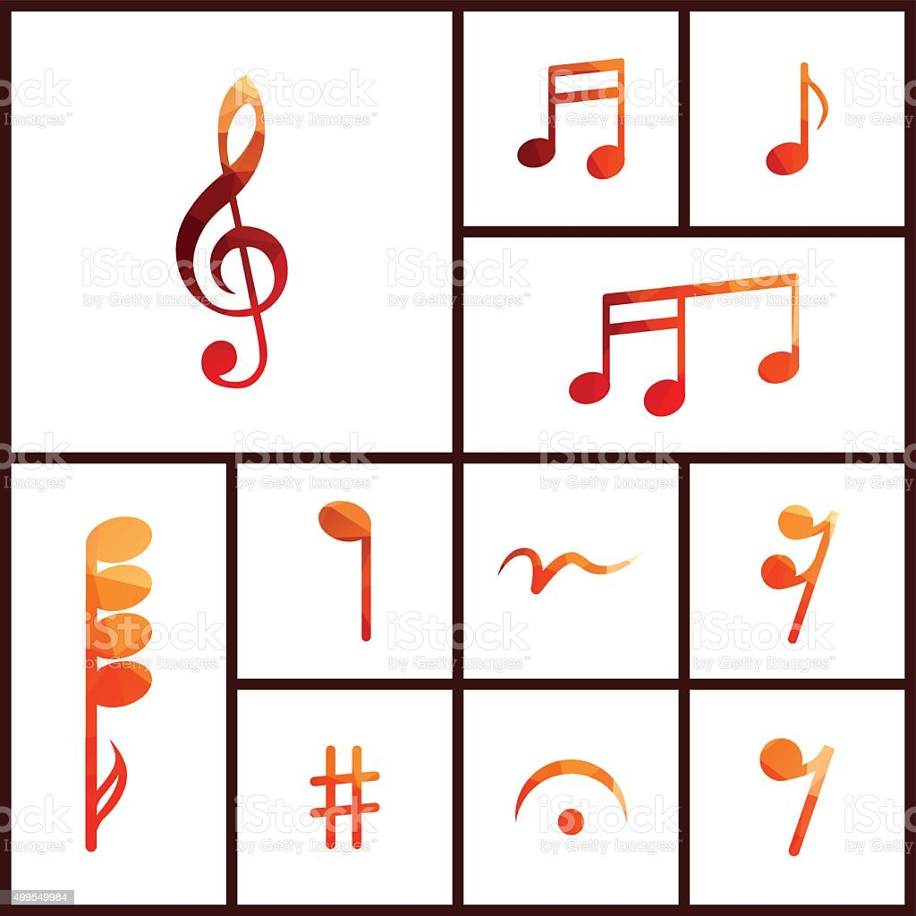 Icon set of musical notes vector art illustration