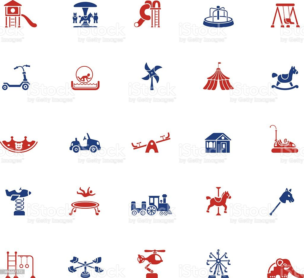 Icon set of playground related activities in blue and red vector art illustration