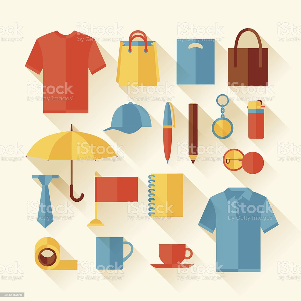 Icon set of promotional gifts and souvenirs. vector art illustration