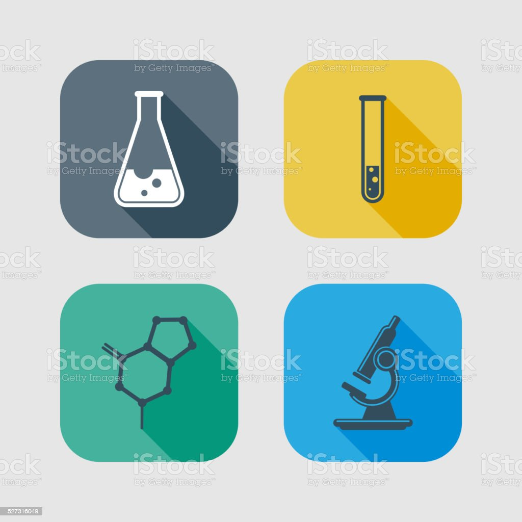 icon set of science signs. flat design with long shadows vector art illustration