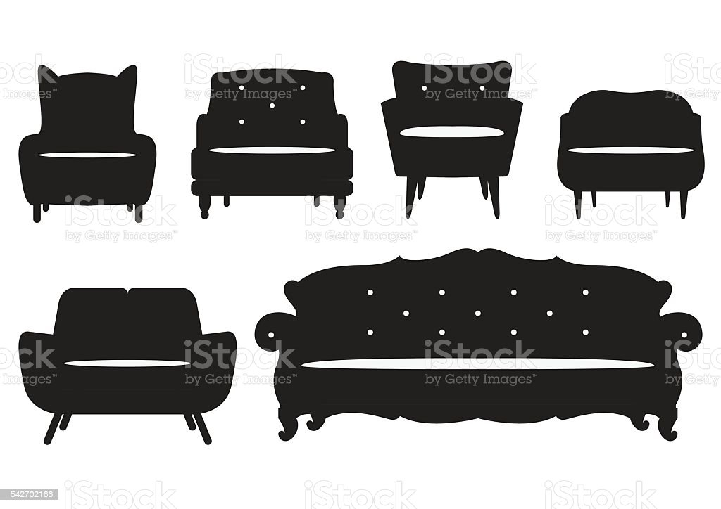 Modern Furniture Icon icon set of silhouette modern furniture chair and sofa vector