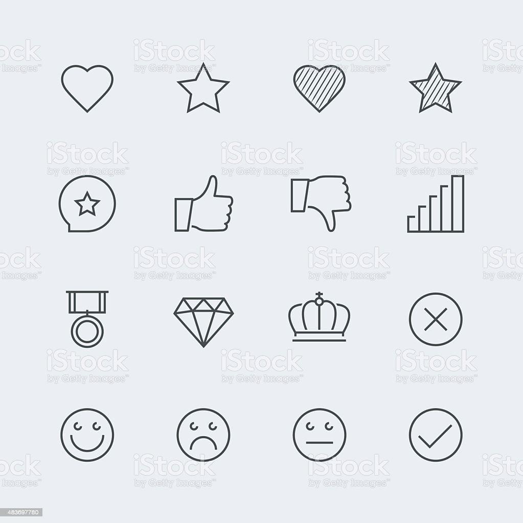Icon set of social media labels for rating vector art illustration