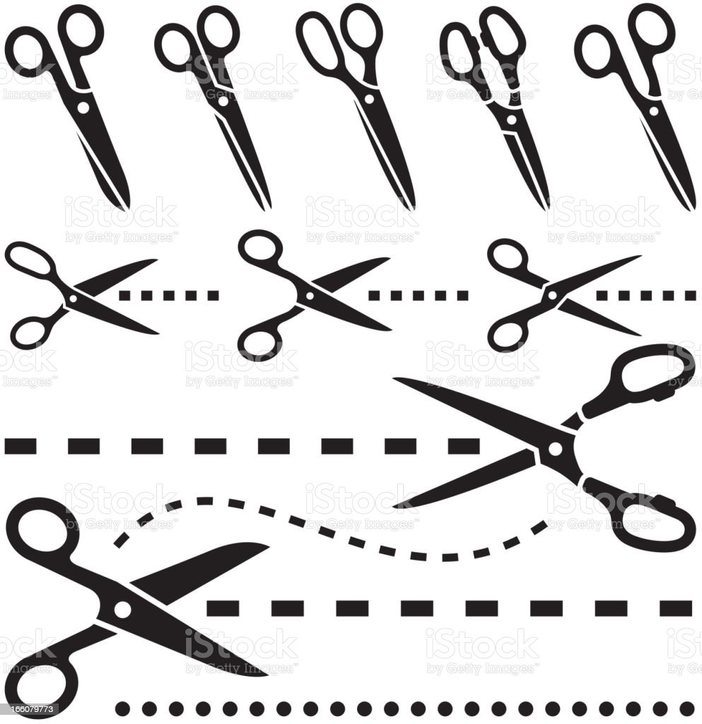 Icon set of tailor scissors with dotted lines royalty-free stock vector art
