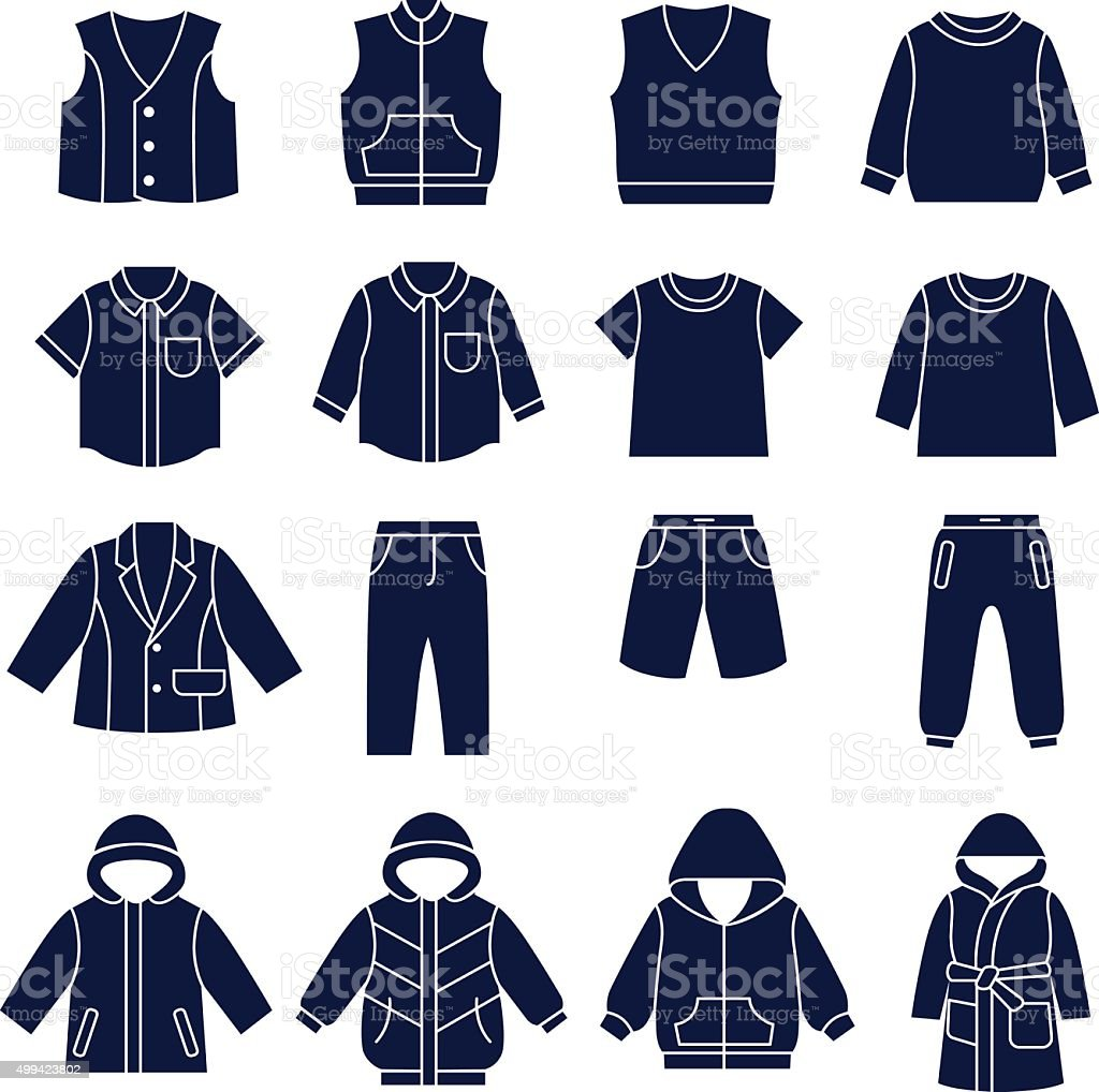 Icon set of types of clothes for boys and teenagers vector art illustration