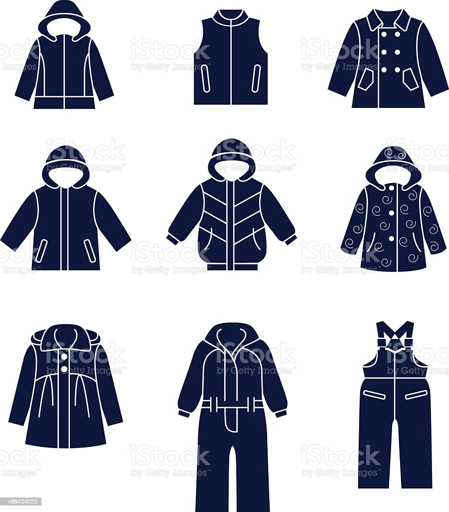 Icon set of types of winter clothes for children vector art illustration