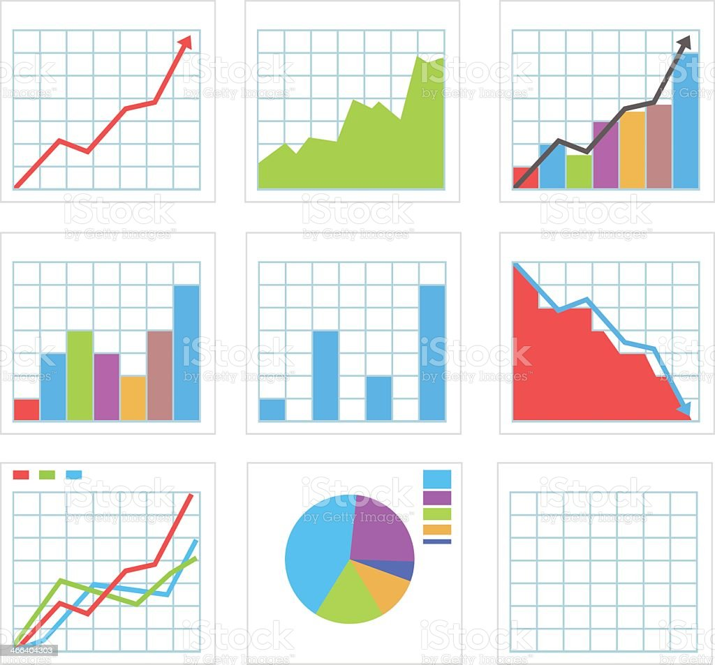 Icon set of various graph and chart pieces vector art illustration