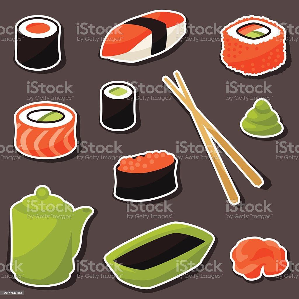 Icon set of various sushi vector art illustration
