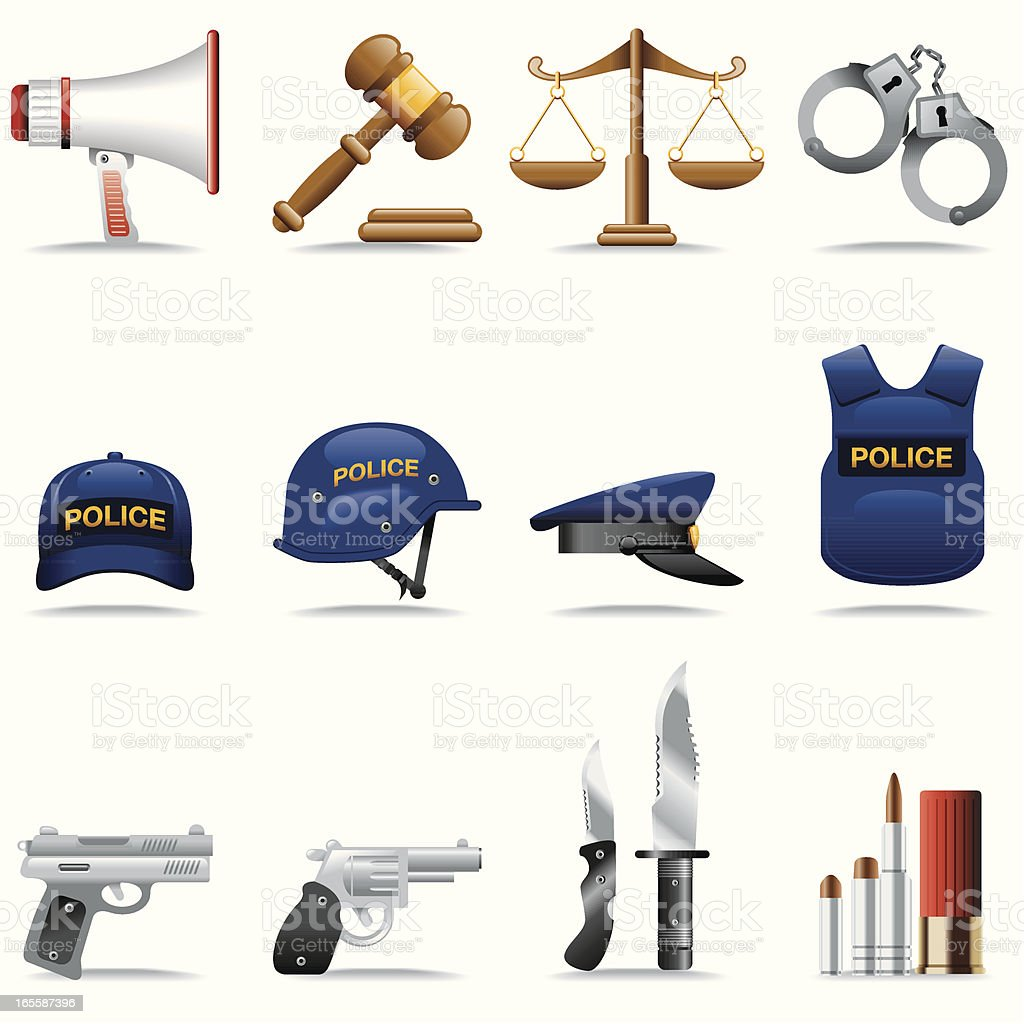 Icon Set, Police and justice royalty-free stock vector art
