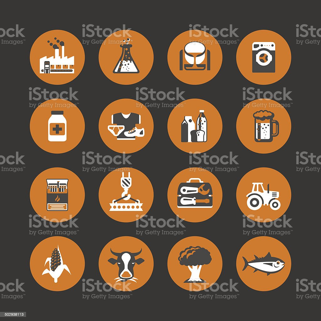 Icon set: production & agriculture vector art illustration