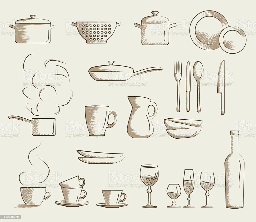 Icon set retro cooking utensils. vector art illustration